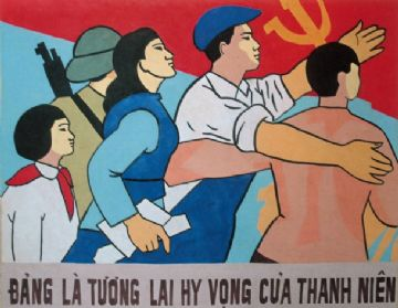 Vietnam Propaganda Poster, state is the future hope of the youth